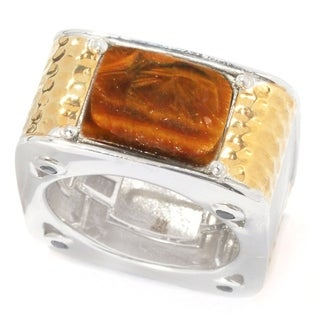 Michael Valitutti Palladium Silver Tiger's Eye & Black Spinel Square Men's Band Ring