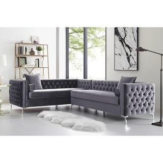 "Dante 120"" Velvet Corner Sectional Sofa Button Tufted Nail-head Trim"