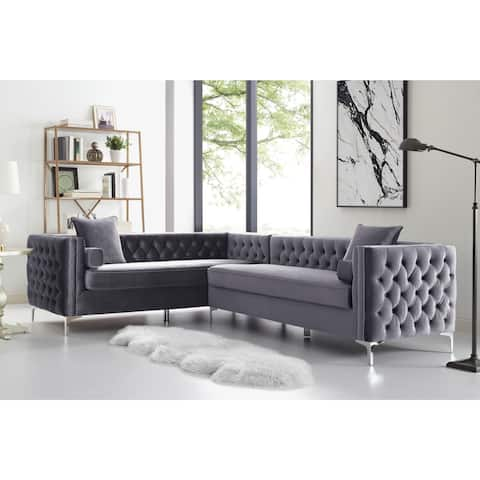 "Dante 120"" Velvet Corner Sectional Sofa Button Tufted Nail-head Trim"