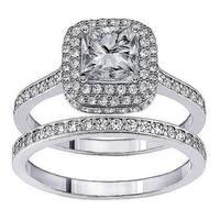 14k White Gold 1 1/2 ct TDW Diamond Halo Engagement Ring (G-H, SI1-SI2)