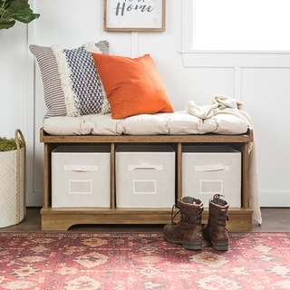 The Gray Barn Paradise Hill Rustic Oak Storage Bench with Cushion and Totes - 42 x 16 x 18h