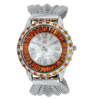 Adee Kaye Womens Rhodium Plated Crystal & Mesh Watch-Orange