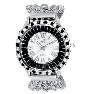 Adee Kaye Womens Rhodium Plated Crystal & Mesh Watch-Black