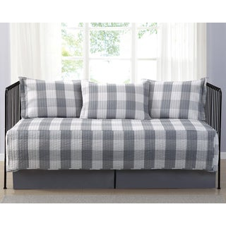 Truly Soft Everyday Buffalo Check Grey Printed 5 Piece Day Bed Set