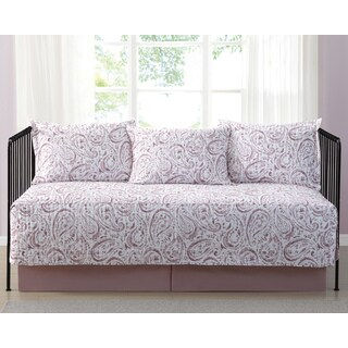 Truly Soft Everyday Watercolor Paisley Blush Printed 5-Piece Day Bed Set