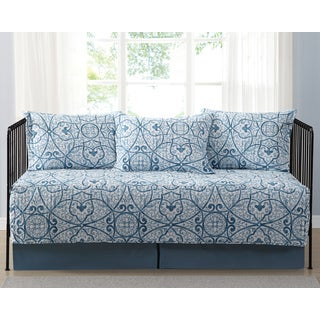 Truly Soft Everyday Marcello Blue Scroll Printed 5-Piece Day Bed Set