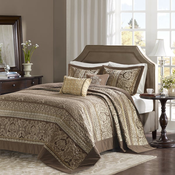 Madison Park Venetian Brown/ Gold 5 Pieces Oversized Jacquard Bedspread Set