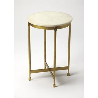 Handmade Butler Claypool White Marble End Table (India)