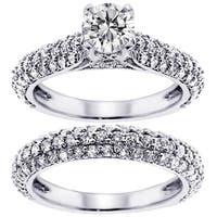 14k White Gold 3 ct TDW Diamond Halo Engagement Ring (G-H, SI1-SI2)