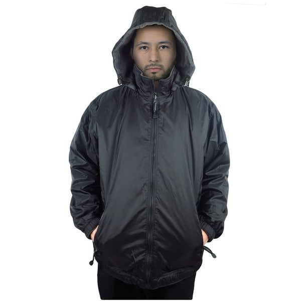 Mens Jacket Nylon Reversible Fleece-lined Hooded coat
