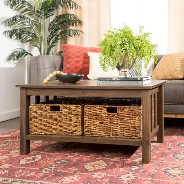 40 Coffee Table With Wicker Storage Baskets X 22