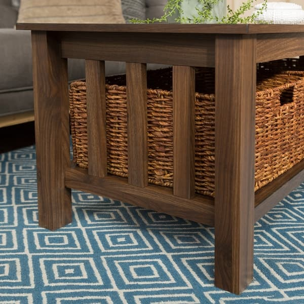 Pleasant Shop 40 Coffee Table With Wicker Storage Baskets 40 X 22 Bralicious Painted Fabric Chair Ideas Braliciousco