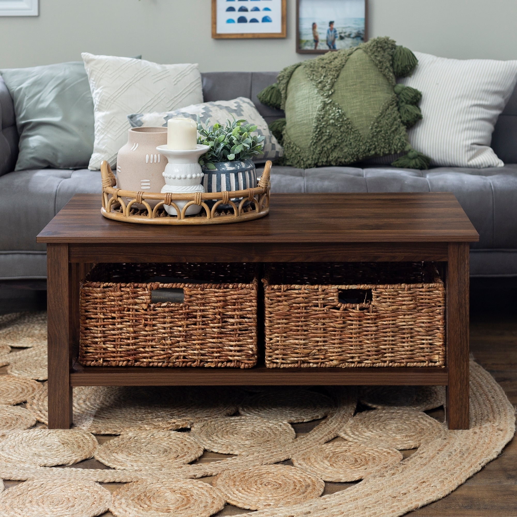- Shop 40-inch Coffee Table With Wicker Storage Baskets - Overstock