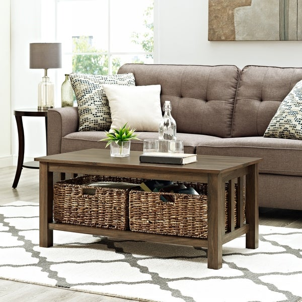 40-inch Wood Coffee Table with Storage Totes