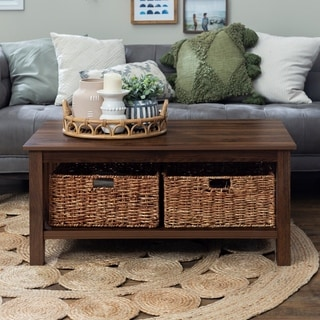 40-inch Wood Storage Coffee Table with Totes