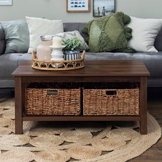 "40"" Coffee Table with Wicker Storage Baskets - 40 x 22 x 18h"