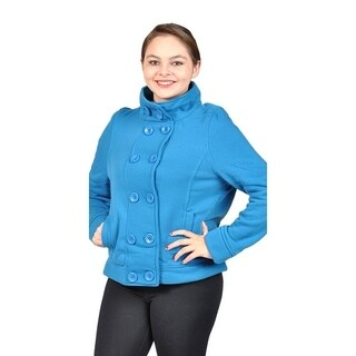 Women's Plus Size Fleece Buttons Jacket 2 Side Pockets Teal