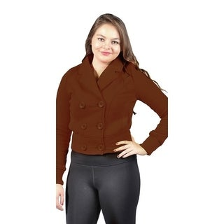 Women's Pluse Size Fleece Jacket with 2 Side Pockets Brown