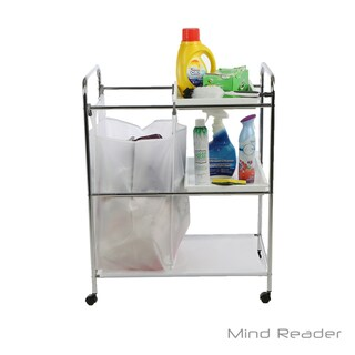 Mind Reader 2 Tray Cleaning Mobile Accessory Cart, Silver