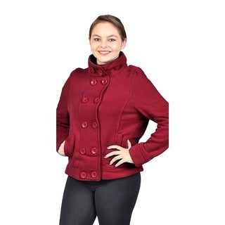 Women's Plus Size Fleece Buttons Jacket 2 Side Pockets Burgundy