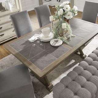 Pennington Grey Wood Rectangular Tile Top Trestle Dining Table By Inspire Q