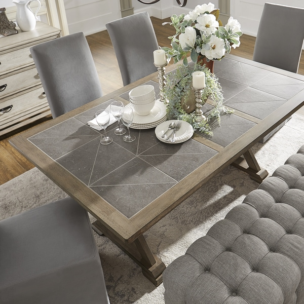 Pennington Grey Wood Rectangular Tile Top Trestle Dining Table By I Nspire Q Artisan by I Nspire Q Artisan