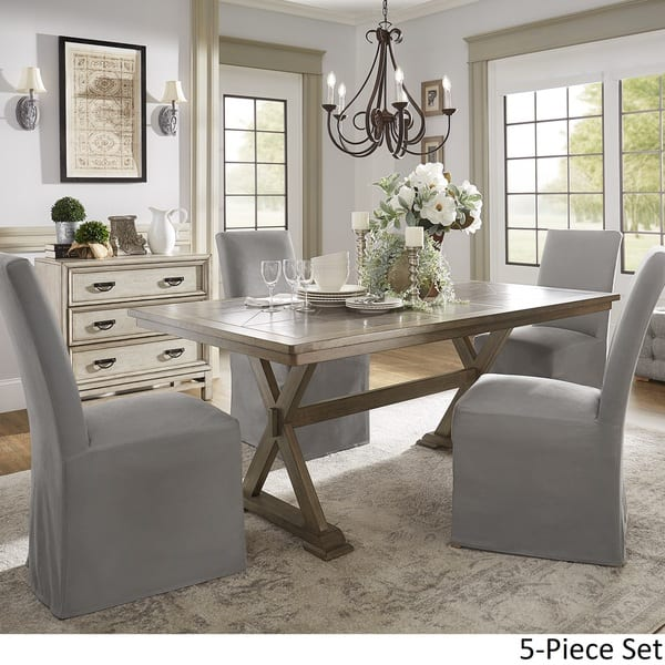 Shop Pennington Grey Rectangular Tile Top Trestle Table ...