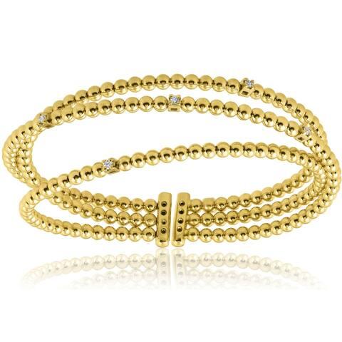 Pompeii3 18k Yellow Gold .12 ct TDW Multi Rose Diamond Bangle Cuff Bracelet - White