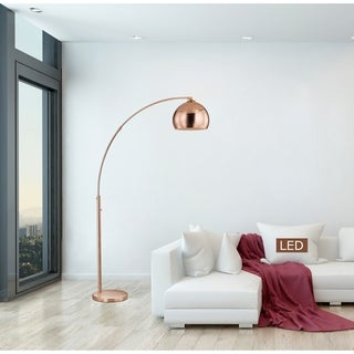 "Artiva Alrigo 80"" Rose Copper LED Arched Floor Lamp with Dimmer"