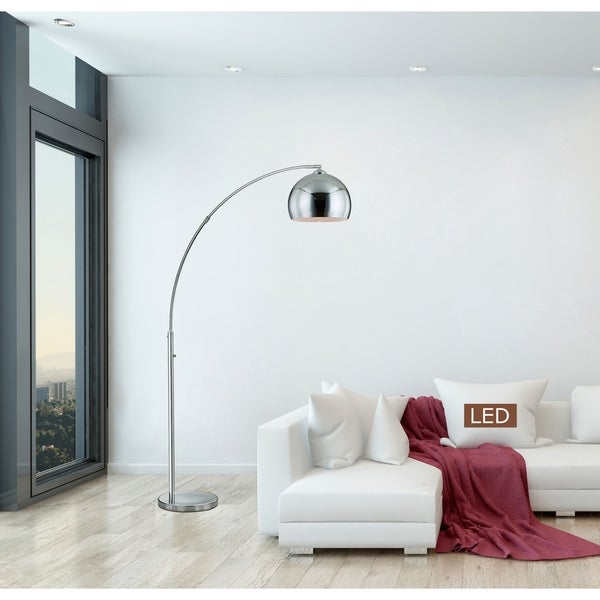 shop artiva alrigo 80 chrome led arched floor lamp with dimmer on