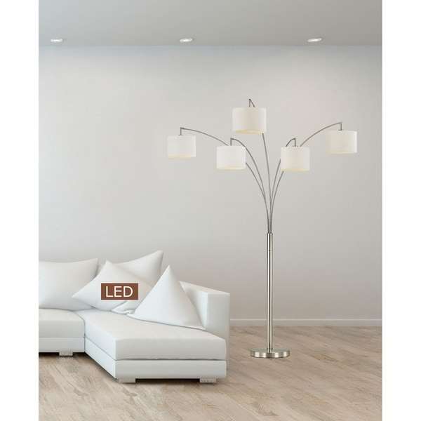 "Artiva Lucianna 83"" Brushed Steel 5-Arch LED Floor Lamp W/Dimmer"