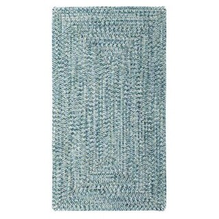Capel Rugs Sea Glass Blue Concentric Outdoor Braided Area Rug (7' x 9')