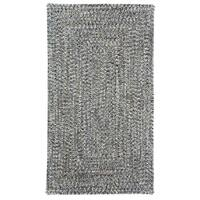 Capel Rugs Sea Glass Smoke Concentric Rectangle Outdoor Braided Rugs (7' x 9')