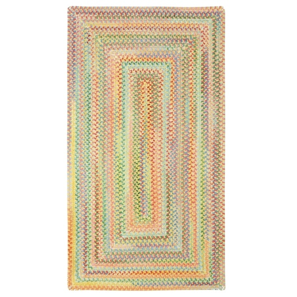Cutting Garden Light Yellow Concentric Rectangle Braided Rugs 7 6 X