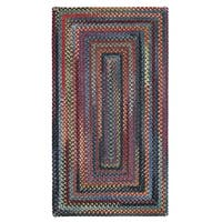 Capel Rugs Songbird Blue Concentric Rectangle Braided Rugs - 3' x 5'