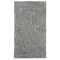 Capel Rugs Sea Glass Smoke Concentric Rectangle Outdoor Braided Rugs (3' x 3')