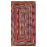 Capel Rugs Songbird Red Concentric Rectangle Braided Rug - 3' x 5'