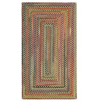 Capel Rugs Songbird Gold Wool-blend Striped Concentric Rectangle Braided Rug (3' x 5')