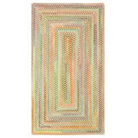Capel Rugs Cutting Garden Light Yellow Concentric Rectangle Braided Rug