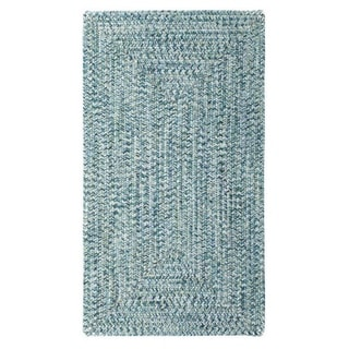 Sea Glass Blue Concentric Rectangle Outdoor Braided Rugs (3' x 5')