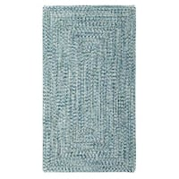 Capel Rugs Sea Glass Blue Concentric Rectangle Outdoor Braided Rugs (2' x 8')
