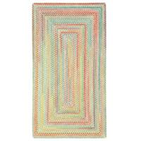 Capel Rugs Cutting Garden Light Parakeet Concentric Rectangle Braided Rug - 3' x 5'