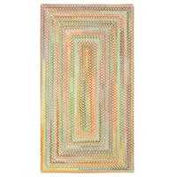 Capel Rugs Cutting Garden Light Yellow Concentric Rectangle Braided Rugs (3' x 3')
