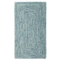 Sea Glass Blue Concentric Rectangle Outdoor Braided Rugs (4' x 6')