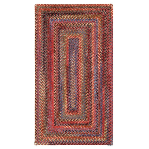 Capel Rugs Songbird Red Concentric Rectangle Braided Rugs (2' x 3')