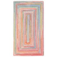 Capel Rugs Cutting Garden Pink Concentric Rectangle Braided Rugs - 2' x 3'