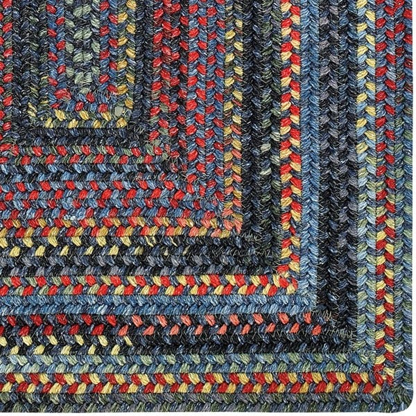 Songbird Blue Concentric Rectangle Braided Rugs 2 3 X 9