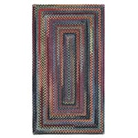 "Capel Rugs Songbird Blue Concentric Rectangle Braided Rugs - 2'3"" x 9'"