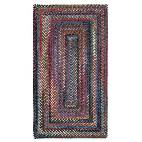 """Capel Rugs Songbird Blue Concentric Rectangle Braided Rugs (2'3"""" x 4')"""