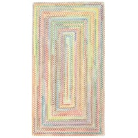 Capel Rugs Cutting Garden Natural Concentric Rectangle Braided Rugs (2' x 8')